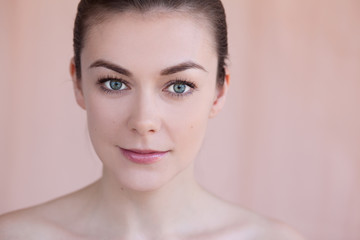 Beautiful young woman with natural daily makeup beauty concept