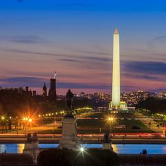 Wall Mural - Washington DC city view at a orange sunset, including Washington