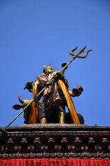 Shiva on roof of Hanuman Dhoka in Basantapur Durbar Square