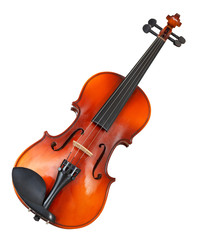 typical wooden violin isolated on white
