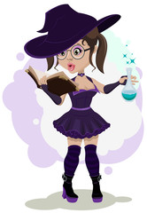 Beautiful witch cooks a potion