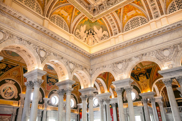 Wall Mural - Library of Congress, interior of the building, DC