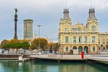 Port Authority  Building and Columbus statue,  Barcelona,  Spain