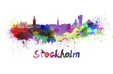 Stockholm skyline in watercolor