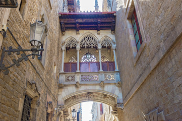 Gothic quarters in Barcelona, Spain