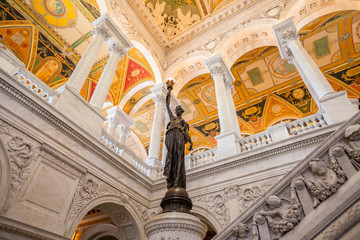 Fototapete - Library of Congress, interior of the building, DC
