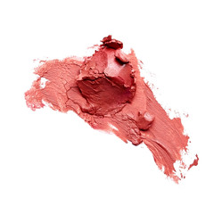 Smudged lipstick over white background