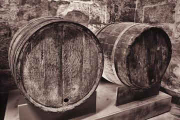 old wooden wine cask