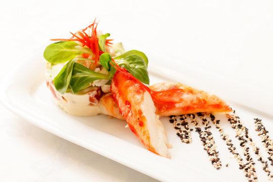 Kamchatka crab with salad