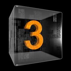 Orange three in a transparent design box