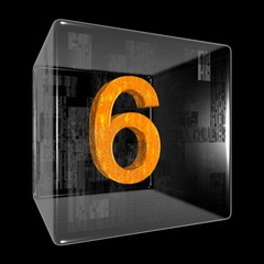 Orange six in a transparent design box