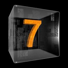 Orange seven in a transparent design box
