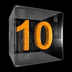 Orange ten in a transparent design box