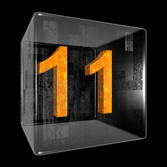 Orange eleven in a transparent design box