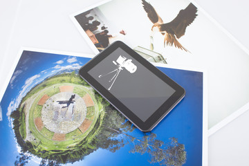 tablet and pictures, mobile technology concept