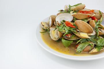 Thai food, surf clam stir , Large depth of field