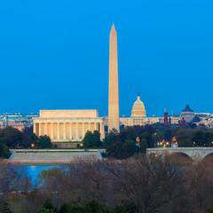 Wall Mural - Washington DC skyline including Lincoln Memorial, Washington Mon