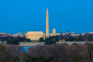 Fototapete - Washington DC skyline including Lincoln Memorial, Washington Mon