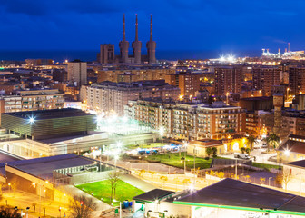 night view of Badalona and Sant Adria de Besos