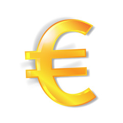 Euro currency signs with shadow isolated
