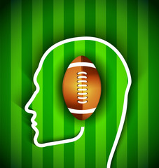Human head with rugby,football american  ball - fan