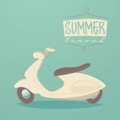 scooter summer travel, vector illustration, flat design