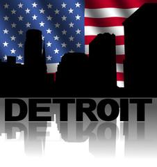Detroit skyline text reflected American flag illustration
