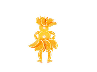 Healthy eating. Funny little woman made of the orange slices.