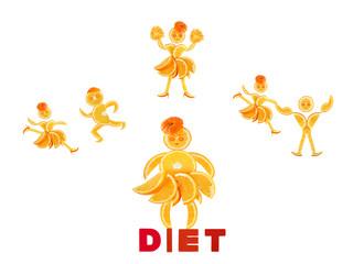 Fat little orange imagines himself a dancer and an athlete