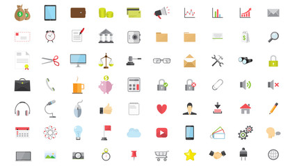Phone Web Internet Flat Icon Design Set