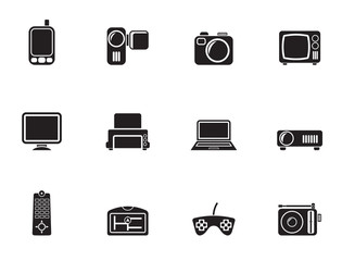 Silhouette Hi-tech technical equipment icons