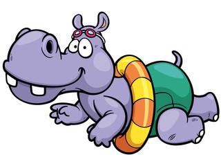 Vector illustration of hippo swimming