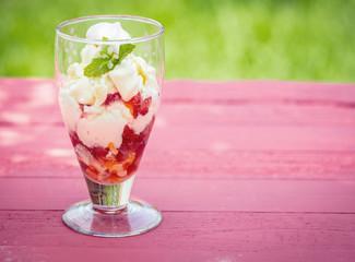 Strawberry pavlova dessert