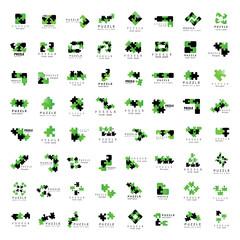 Puzzle Icons Set - Isolated On White Background