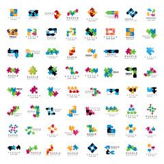 Puzzle Icons Set - Isolated On White Background,