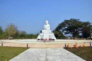 Maitreya White Buddha at Wat Pusawan Phetchaburi Thailand