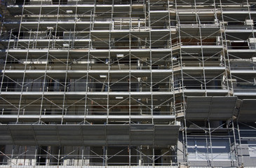 Scaffolding on a construction site of a new building