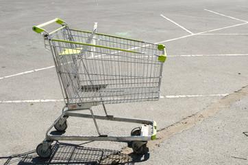 Shopping cart at parking lot