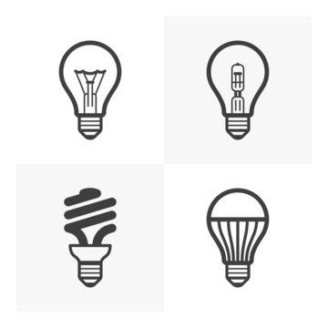 Various light bulb icons. Standard, halogen, fluorescent, LED