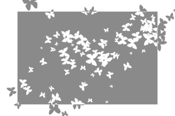 Stencil butterfly pattern design in grey and white