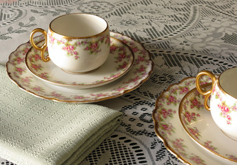 Limoges Cup, Saucer and Sandwich Plate