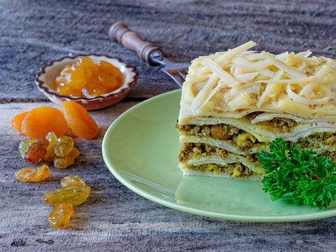 South African boboti layered with pancakes