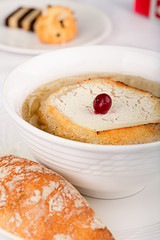 French onion soup with toast and cheese