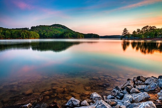 Lake Allatoona at Red Top Mountain State Park at sunrise