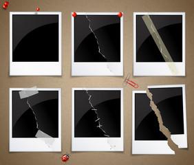 Set of torn polaroid polaroid photo frames