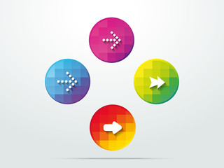 Color button arrows info graphic web icon