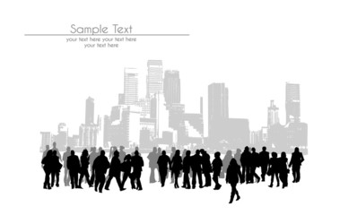 Silhouettes of walking people in the modern city