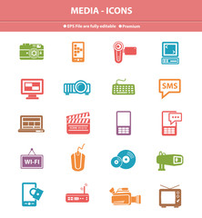 Media icons on white background,Colorful version
