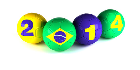 Digits of 2014 year and brazi flagl with soccer balls