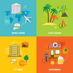 Building tourism concepts flat